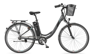 Telefunken E-Bike Damen Elektrofahrrad Alu 28 Zoll mit 7-Gang Shimano Nexus Nabenschaltung, Pedelec Citybike leicht mit Fahrradkorb, Mittelmotor 250W 10Ah, 36V Sitzrohrakku, RC765 Multitalent