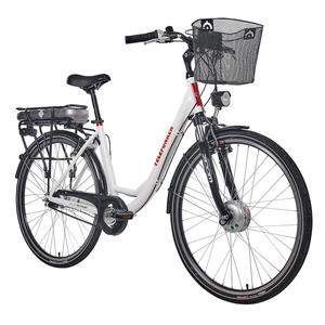 Telefunken E-Bike Damen 28 Zoll, Elektrofahrrad Alu in Weiß oder Anthrazit mit 7-Gang Shimano Nabenschaltung - Pedelec Citybike leicht mit Fahrradkorb, 250W & 13Ah / 36V Lithium-Ionen-Akku