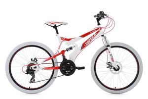 Mountainbike MTB Fully 24'' Topeka weiß-rot KS Cycling