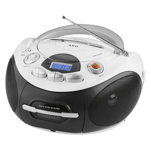 AEG SR 4353 CD/MP3 Radio mit Kassettenfach Schwarz/Weiß, Digital, AM, FM, LCD