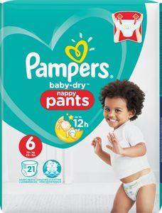 Pampers Baby-Dry Pants Größe 6, 21 Windeln, Mit Luftkanälen