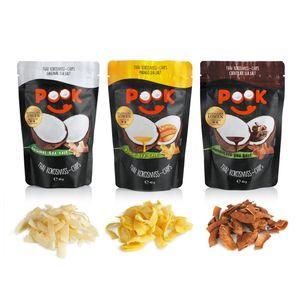 PooK Kokosnuss-Chips Set 9-tlg. (je 3x Chocolate/Mango/Original  je 40g)