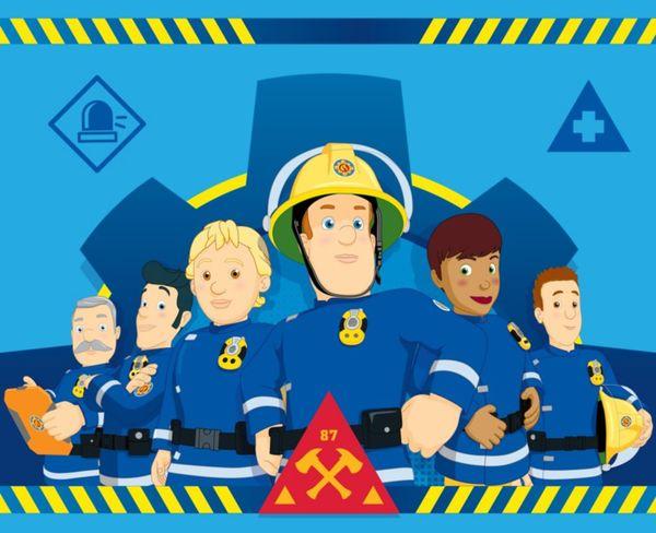 Kinder Fleecedecke - Feuerwehrmann Sam mit Truppe - blau