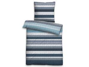 Biberna Mako-Satin Bettwäsche Streifen blau-grau, 135x200 cm