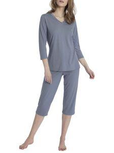 Calida 3/4-Pyjama mit Satinblende, grey blue, blau, L