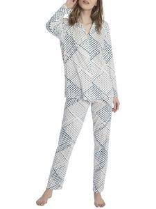 Calida Pyjama, durchgeknöpft, star white, weiß, XXS