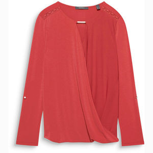 Esprit Collection Damen Shirt mit Wickeleffekt, rot, XXL