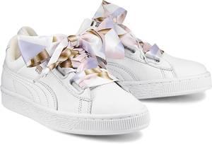 Basket Heart Geo Camo von Puma in weiß für Damen. Gr. 38.5,41