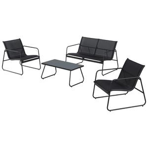 Sofa-Set Cuba (2 Sessel, 1 Sofa, 1 Tisch, schwarz)
