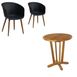 Gartenmöbel-Set Safari/Ontario (1 Tisch, 2 Stühle, anthrazit)