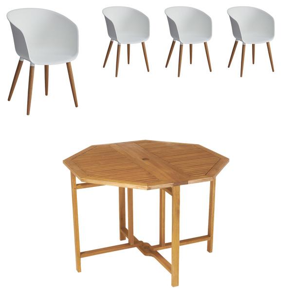 Gartenmöbel-Set Da Nang/Ontario (1 Tisch, 4 Stühle, weiß)