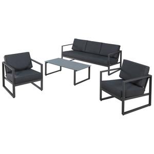 Garten-Sofa-Set Kentucky (1 Sofa, 2 Sessel, 1 Tisch, grau)