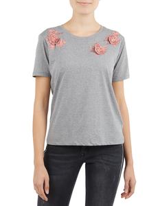Damen Shirt mit floralen Aufnähern