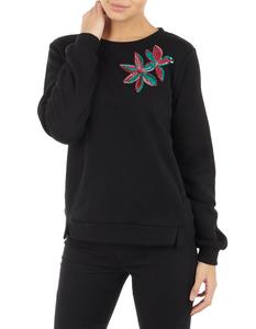 Damen Sweatshirt mit floraler Applikation