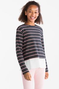 Here and There         Pullover - 2-in-1-Look - gestreift