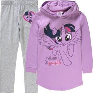 My little Pony Kinder Set Kapuzensweatkleid mit Einhorn und Ohren + Leggings Gr. 128/134 Mädchen Kinder