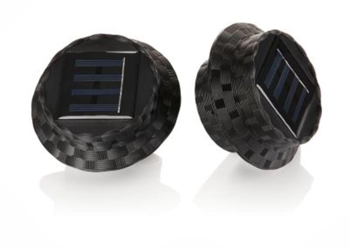 Bild 1 von Solar-Dachrinnenleuchten Polyrattan, 2er Set