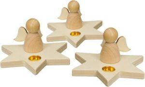 Kerzenhalter Holz Engel, 3 Stück