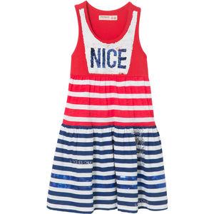 Desigual Mädchen Kleid mit Wechselpailletten, maritim