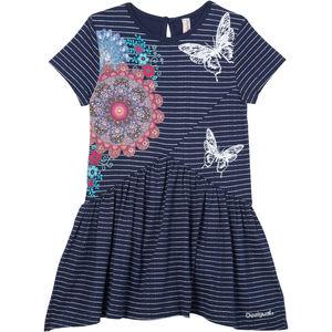 Desigual Mädchen Kleid mit Print, gestreift