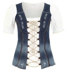 STOCKERPOINT             Trachtenbluse, Lochspitze, Jeans-Design