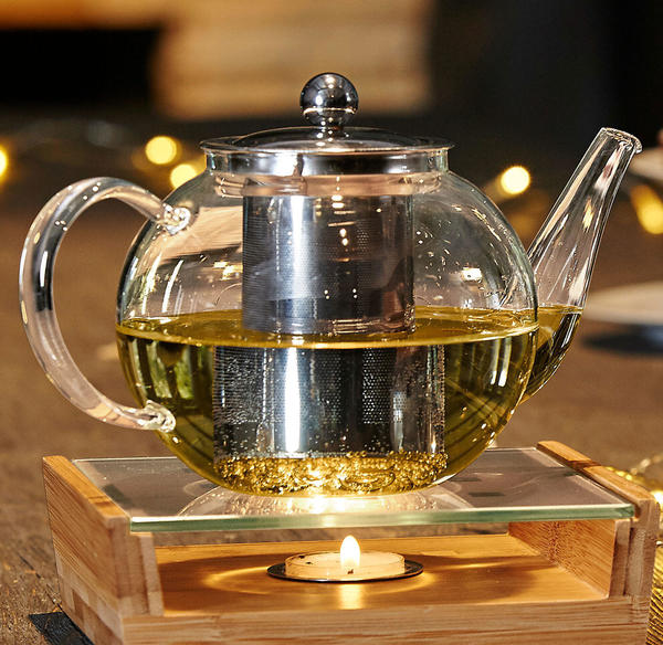 Teekanne aus Glas und Edelstahl, ca. 23x14cm
