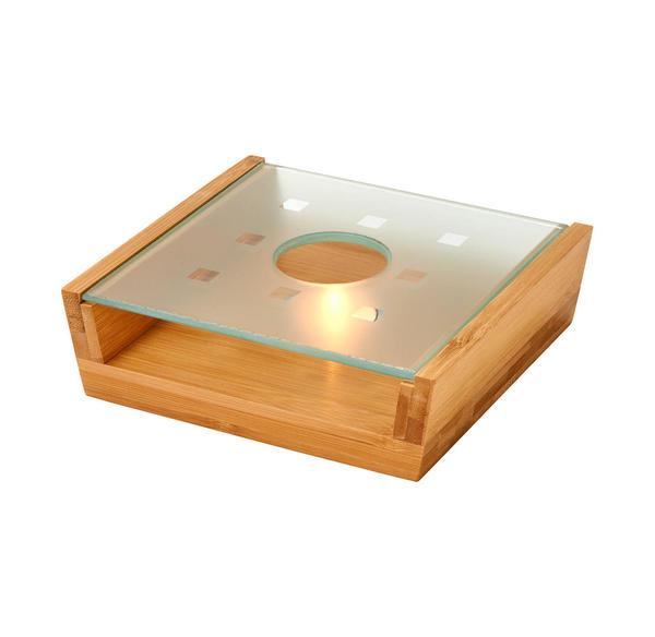Stövchen aus Bambus und Glas, ca. 18x16x5cm, 3-teilig