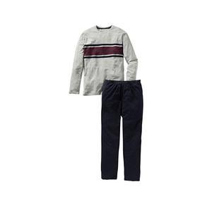 Herren-Schlafanzug mit breiten Kontrast-Streifen, 2-teilig