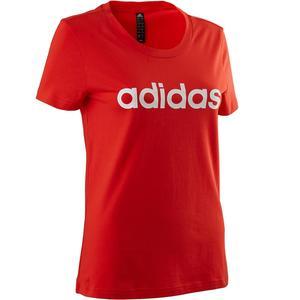 T-Shirt Gym 500 Damen rot/weiß