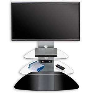 TV-Rack - silber-schwarz - Glasböden - mit Beleuchtung