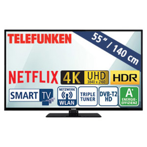 "55""-Ultra-HD-LED-TV D55U297N4CWHI HbbTV, 3 HDMI-/2 USB-Anschlüsse, CI+, Stand-by: 0,5 Watt, Betrieb: 86 Watt, Maße: H 73,0 x B 124,8 x T 9,7 cm, Energie-Effizienz A+ (Spektrum A++ bis E)"