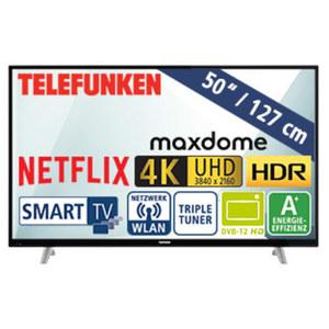 """50""""-Ultra-HD-LED-TV D50U293N4CWH 1200-Hz-Technik, HbbTV, 3 HDMI-/2 USB-Anschlüsse, CI+, Stand-by: 0,5 Watt, Betrieb: 71 Watt, Maße: H 67,0 x B 113,4 x T 9,1 cm, Energie-Effizienz A+ (Spektrum A++ b"""