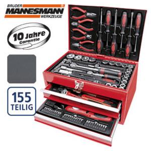 Bestückte Werkzeugbox aus stabilem Stahlblech, 155-teilig, Maße: ca. B 35 x H 22 x  T 22 cm