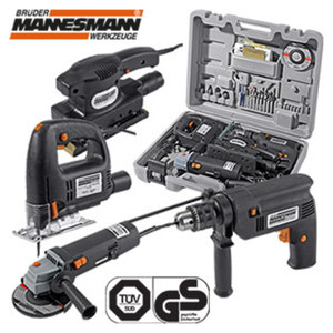Werkzeugmaschinen-Set 4-teilig, bestehend aus: Schlagbohrmaschine 600 W, Einhand-Winkelschleifer 500 W, Pendelhub-Stichsäge 350 W, Schwingschleifer 150 W, inkl. Zubehör, je