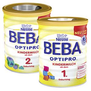 Beba Optipro Kleinkindmilch 1 oder 2, jede 800-g-Packung