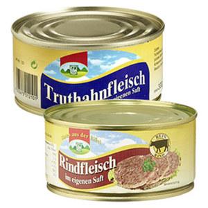 Eifeler Truthahnfleisch in eigenem Saft, Rindfleisch oder Hähnchenfleisch jede 300-g-Dose