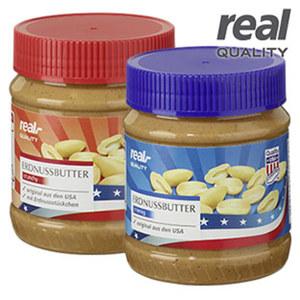Erdnussbutter cremig oder crunchy, jedes 350-g-Glas
