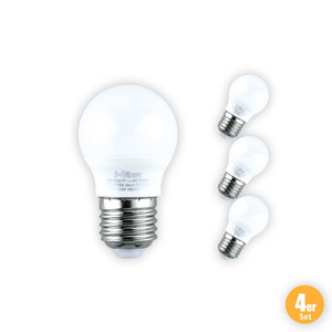 I-Glow LED-Leuchtmittel, Mini Globe, 7 W, E27, Warmweiß - 4er Set