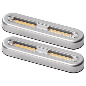 IDEENWELT 2er Set LED-Touch-Lights silber