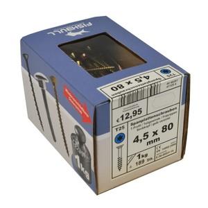 Spanplattenschraube 4,5x80 IVZ 1kg Pack T-Profil TX Senkkopf Teilgewinde gelb
