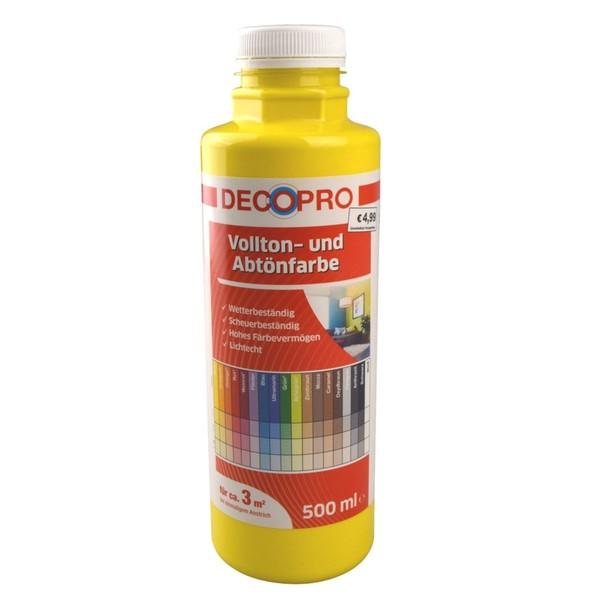 DecoPro Vollton und Abtönfarbe 500 ml gelb innen und außen