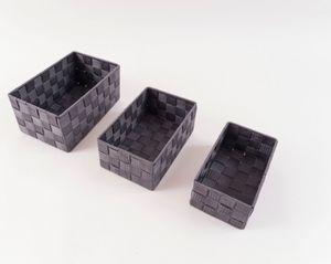 Flechtkörbe, 3er Set - Grau