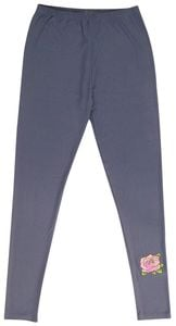 Damen Sommerlegging Gr. S jeansblau mit rose