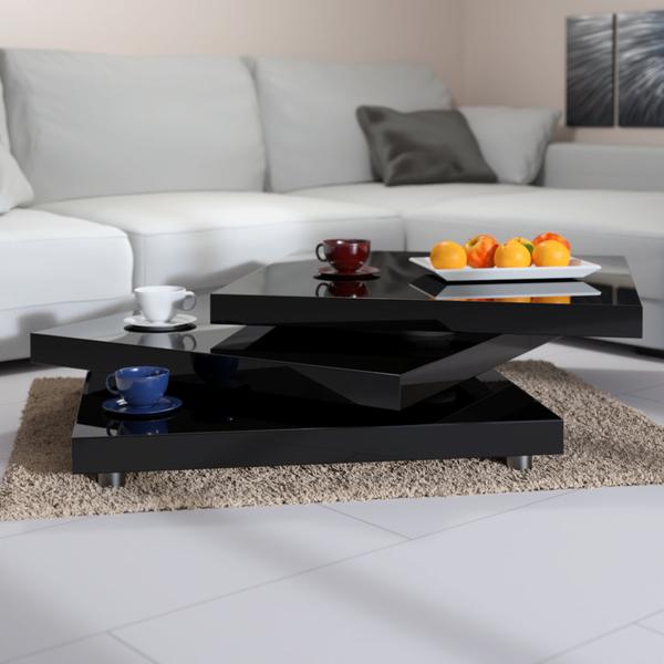Deuba Couchtisch Hochglanz schwarz modern | 360° drehbar im Cube Design |  60x60cm - Wohnzimmertisch Beistelltisch Design Lounge Tisch Sofatisch