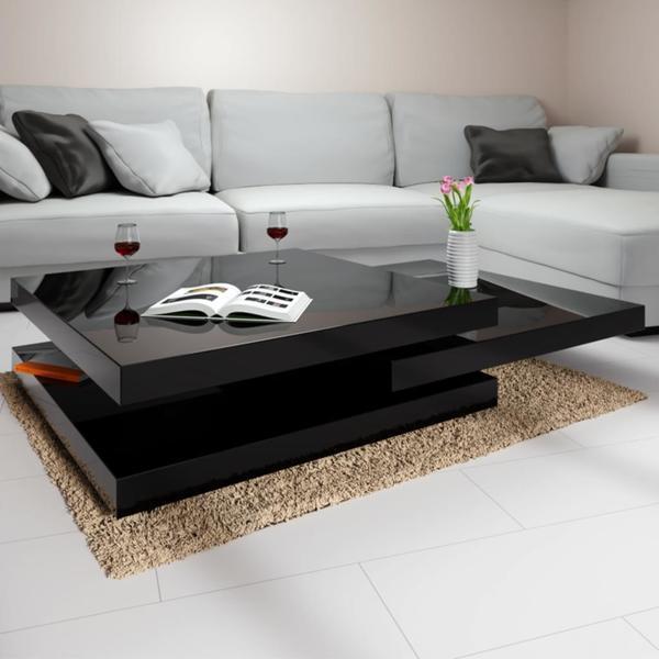 Deuba Couchtisch Hochglanz Schwarz Modern 360 Drehbar Im Cube Design 60x60cm Wohnzimmertisch Beistelltisch Design Lounge Tisch Sofatisch
