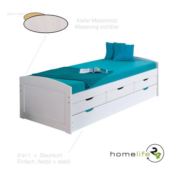 Bett 90x200 cm Kinderbett Funktionsbett Kojenbett Gästebett weiß Schubladen