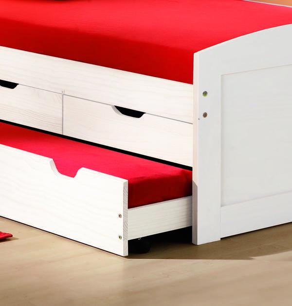 Bett 90x200 Cm Kinderbett Funktionsbett Kojenbett Gastebett Weiss