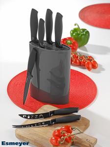 Esmeyer Messerset ALPHA 7-teilig mit Block, Klingen aus Edelstahl, Farbe Anthrazit