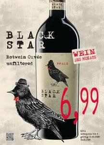 Black Star Rotwein Cuvée unfiltered Pfalz, Deutschland