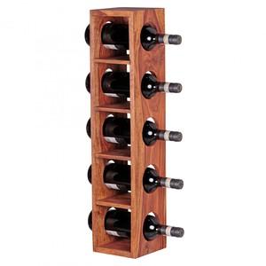 WOHNLING Weinregal Massiv-Holz Sheesham Flaschen-Regal Wandmontage für 5 Flaschen Holzregal modern m